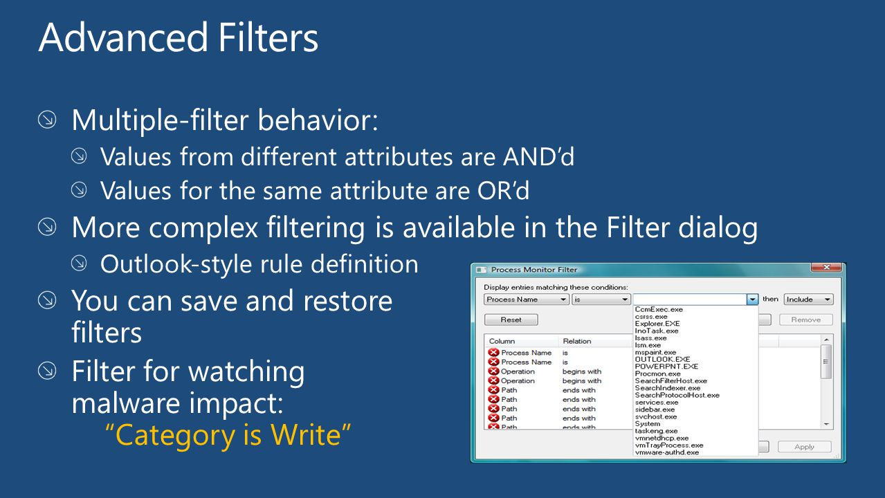 Advanced Filters Multiple-filter behavior:
