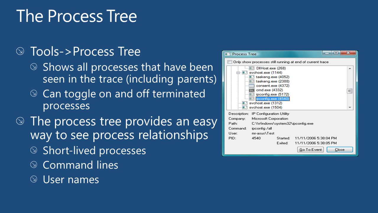 The Process Tree Tools->Process Tree