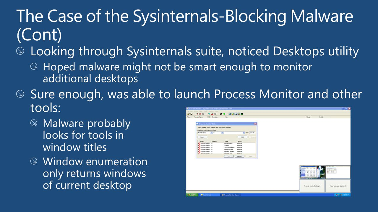 The Case of the Sysinternals-Blocking Malware (Cont)
