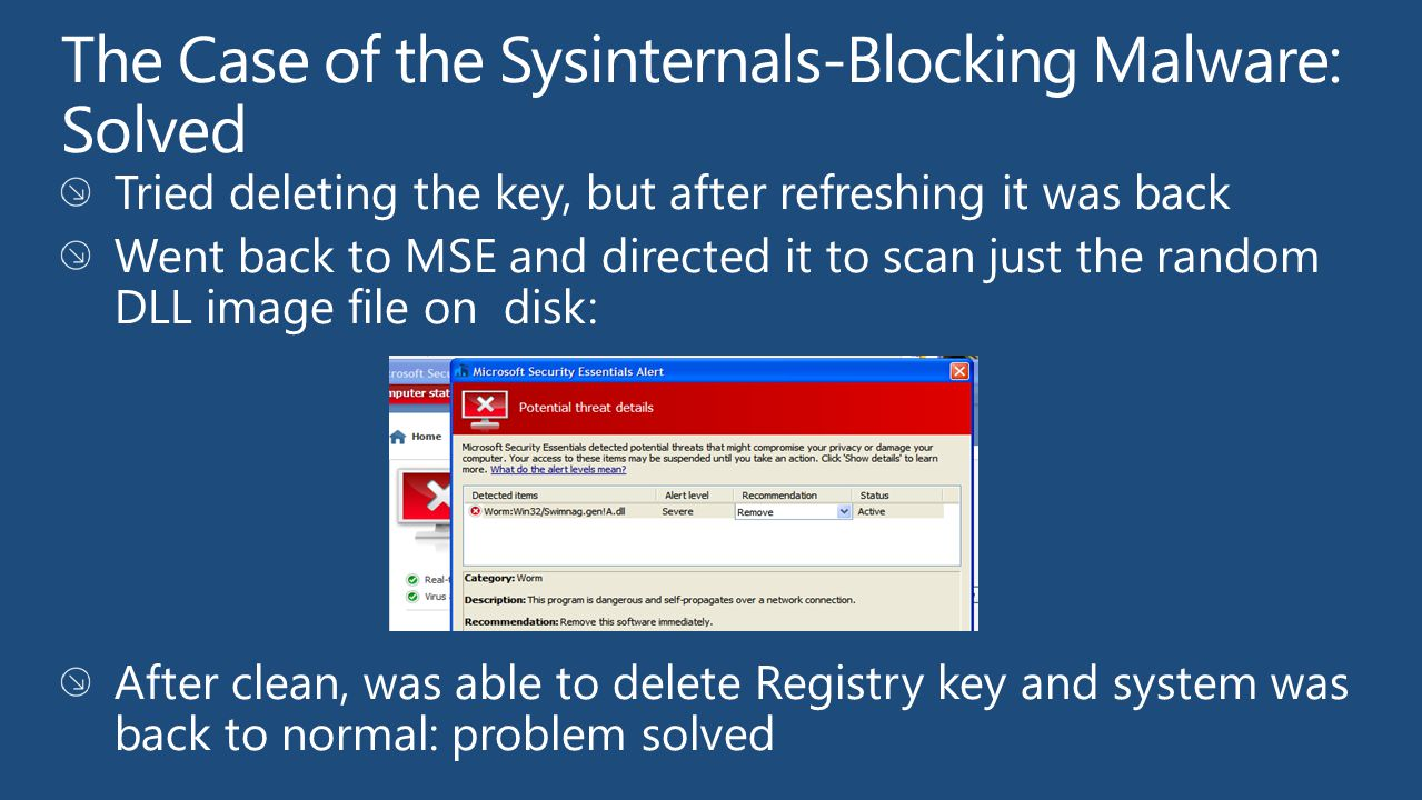 The Case of the Sysinternals-Blocking Malware: Solved