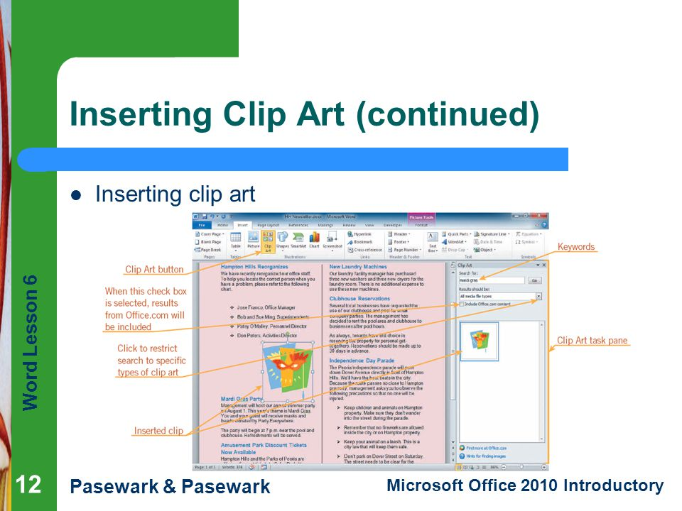 Inserting Clip Art (continued)