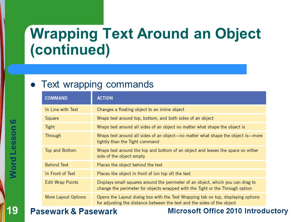 Wrapping Text Around an Object (continued)