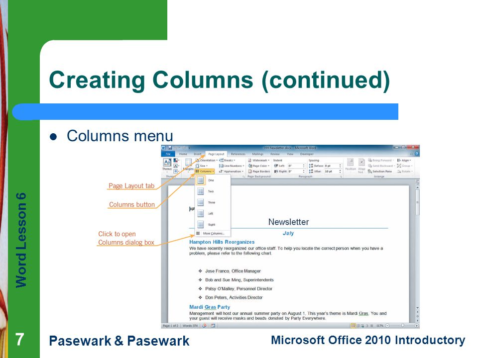 Creating Columns (continued)