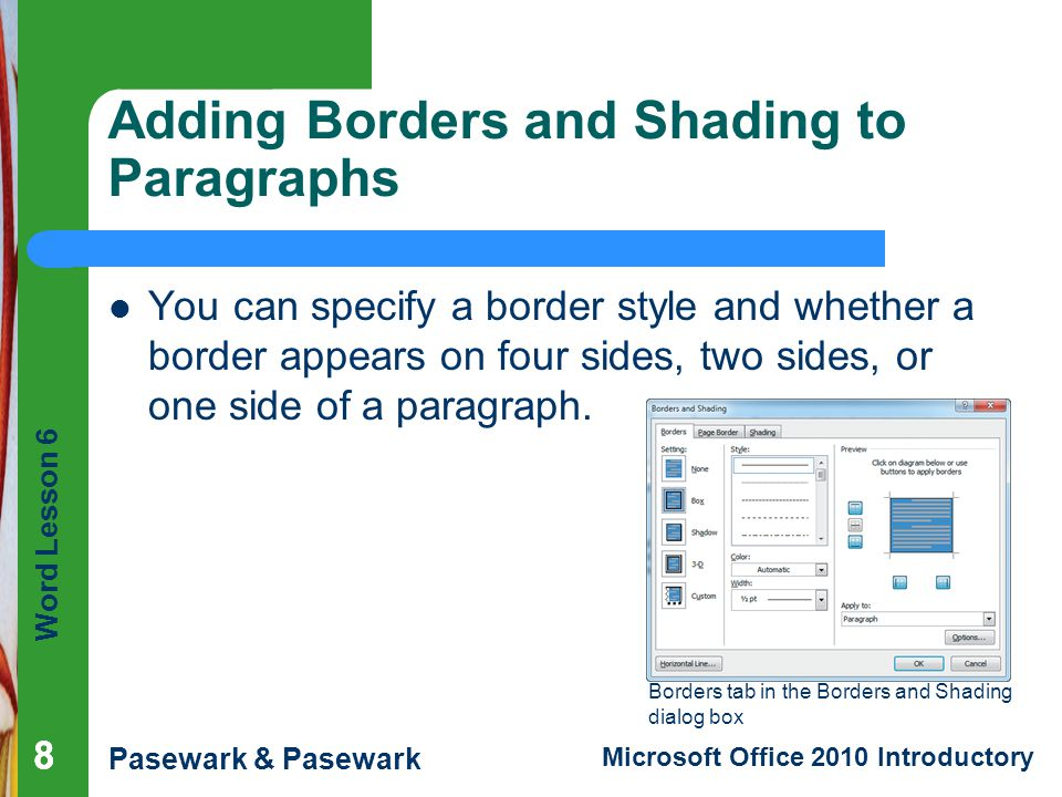 Adding Borders and Shading to Paragraphs