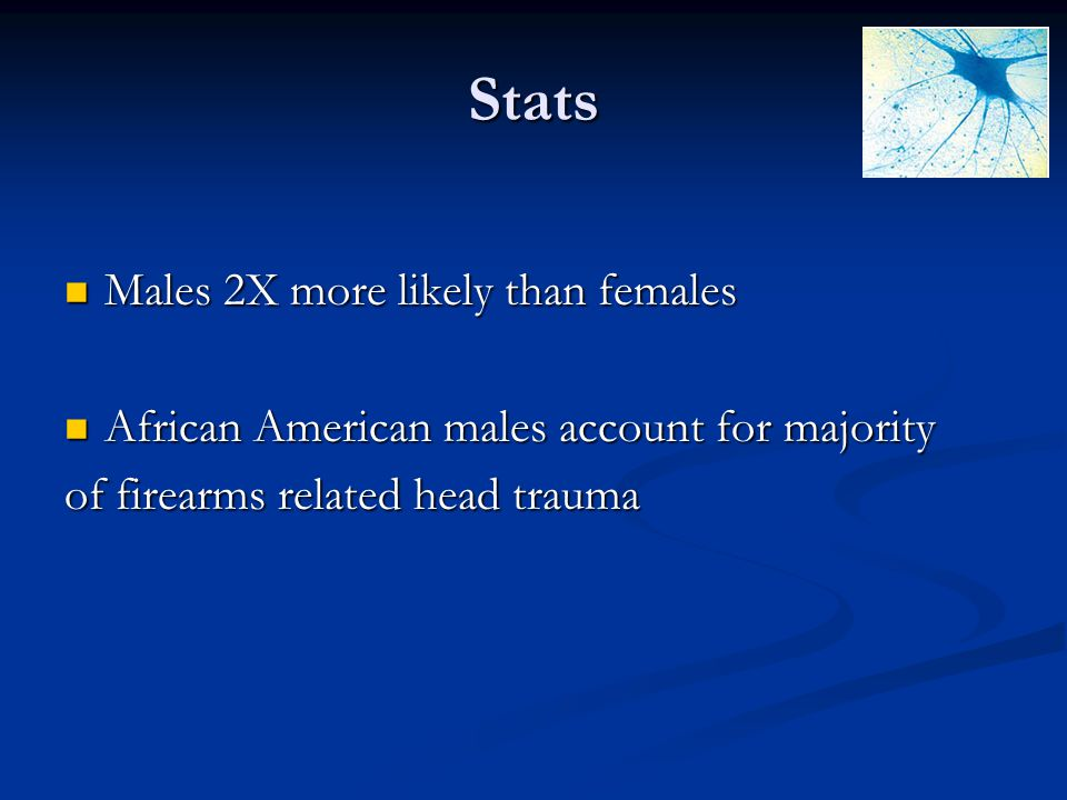 Stats Males 2X more likely than females
