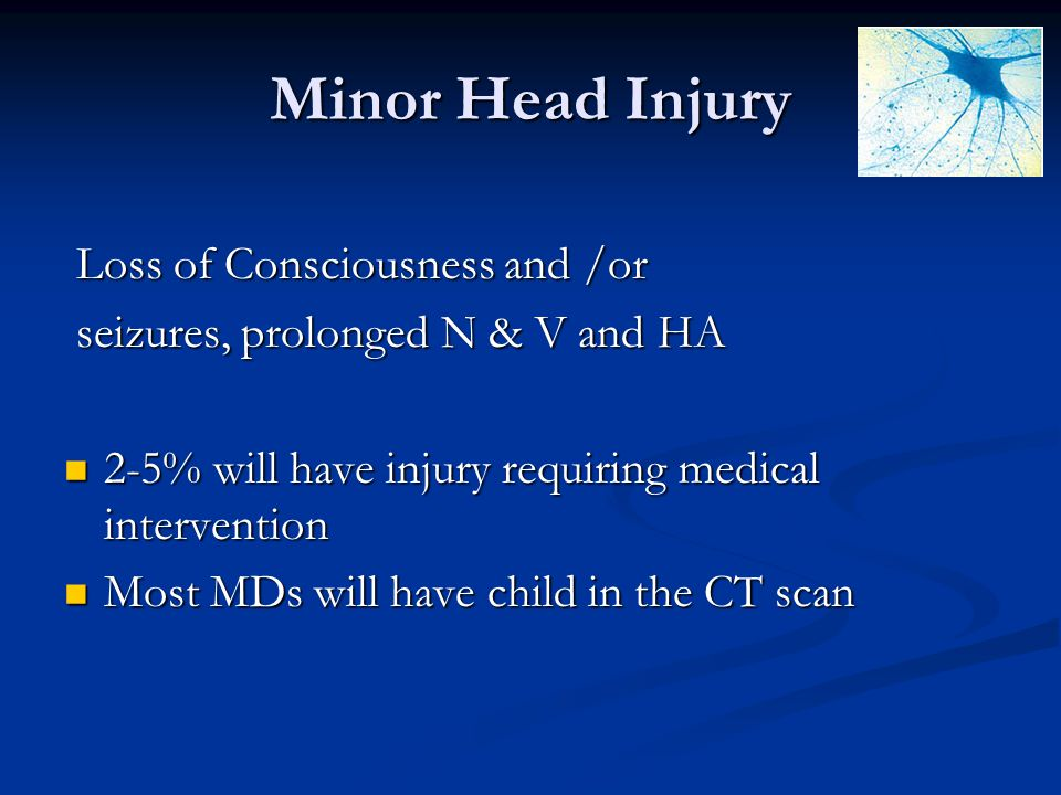 Minor Head Injury Loss of Consciousness and /or