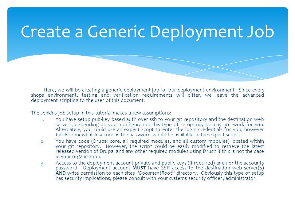 Create a Generic Deployment Job