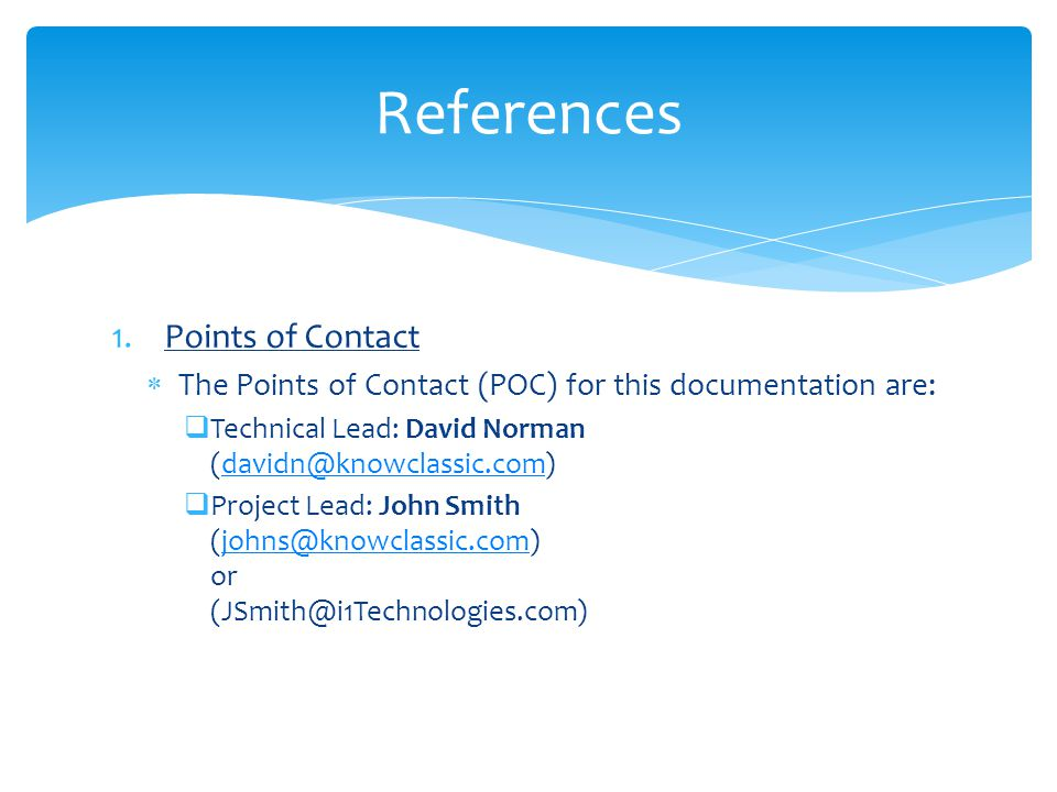 References Points of Contact