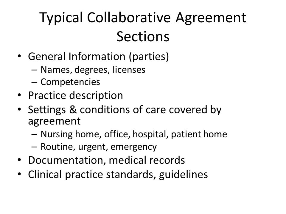 Typical Collaborative Agreement Sections