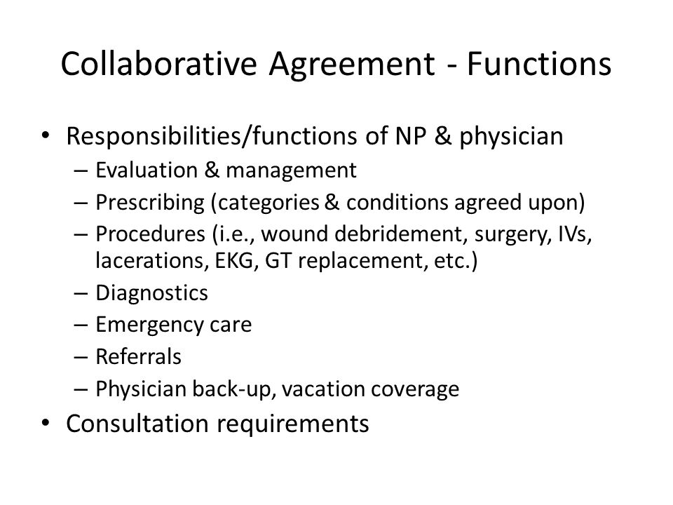 Collaborative Agreement - Functions