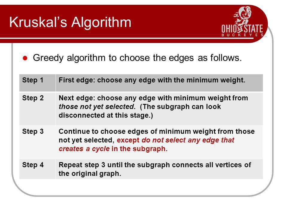 Kruskal's Algorithm Greedy algorithm to choose the edges as follows.