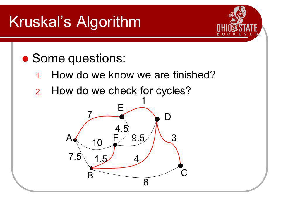 Kruskal's Algorithm Some questions: How do we know we are finished