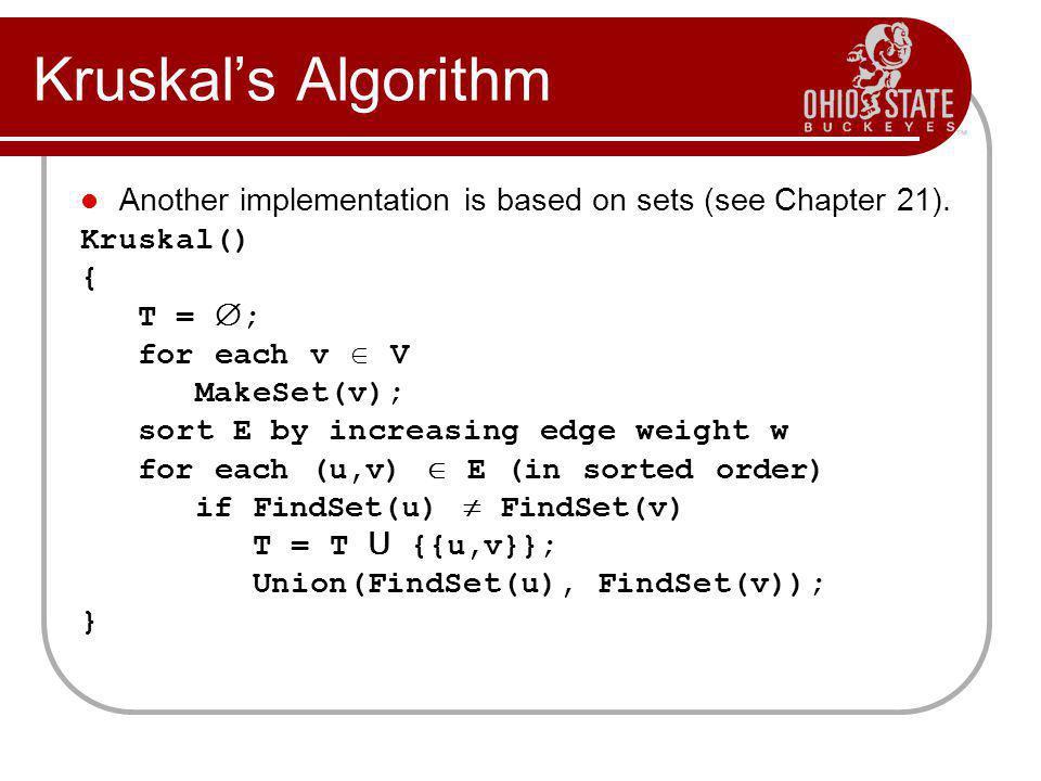 Kruskal's Algorithm Another implementation is based on sets (see Chapter 21). Kruskal() { T = ;