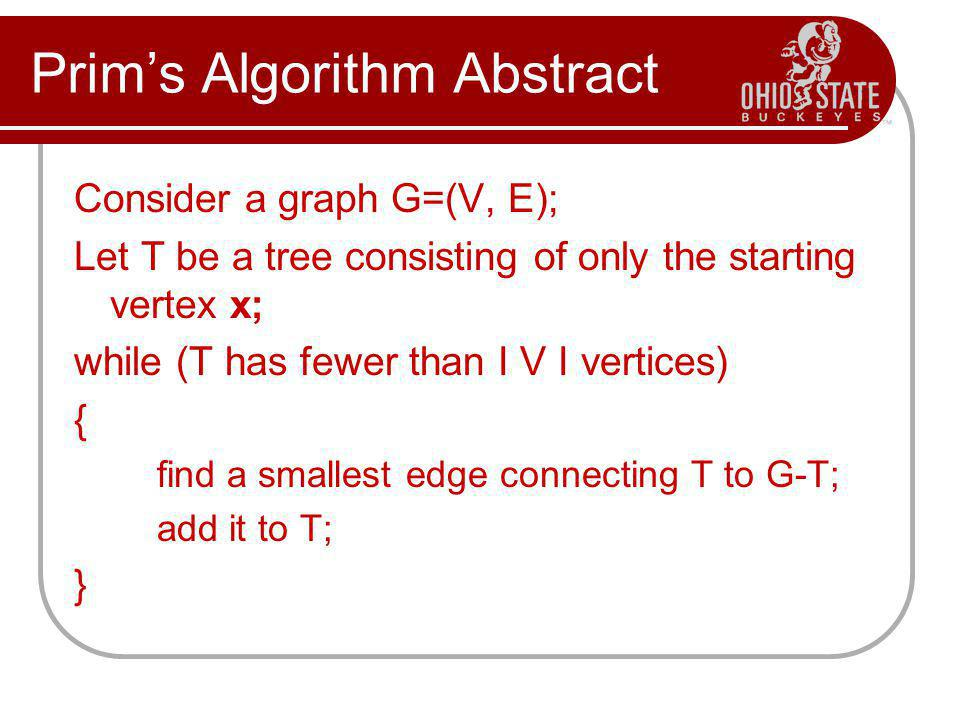 Prim's Algorithm Abstract