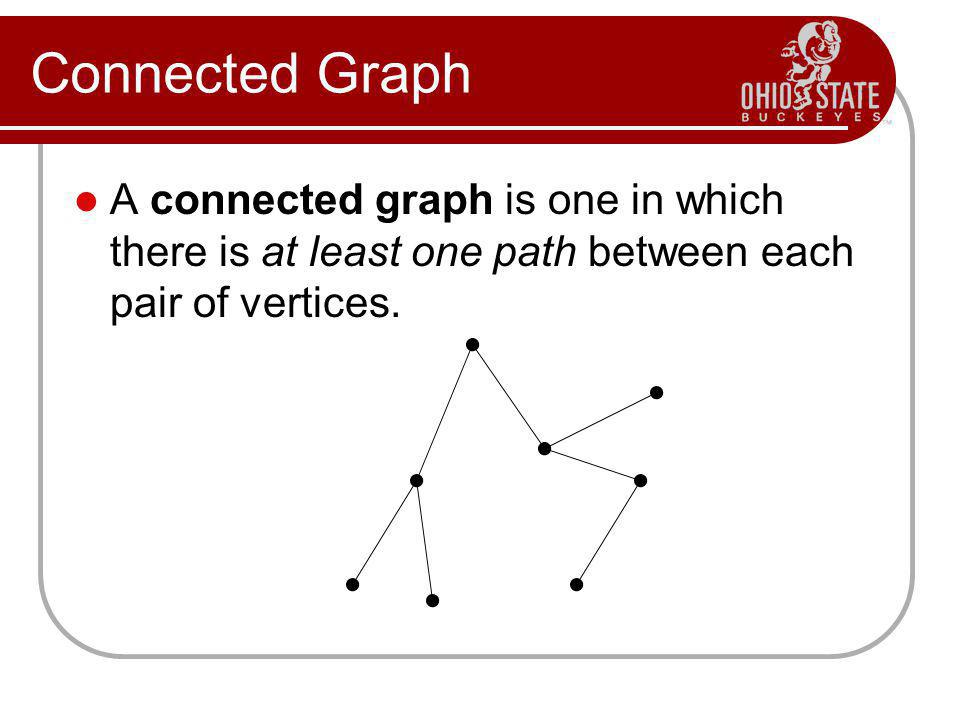 Connected Graph A connected graph is one in which there is at least one path between each pair of vertices.