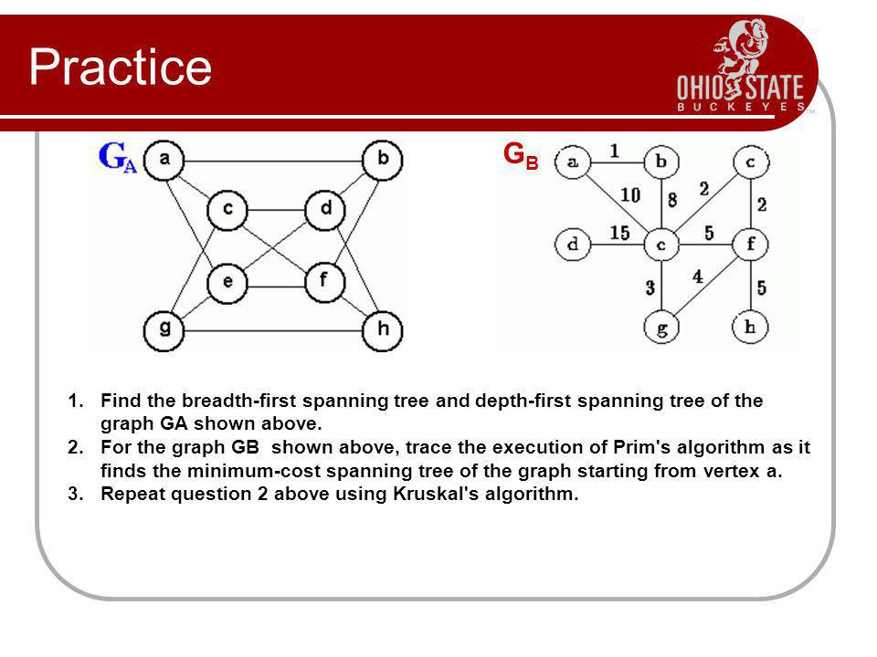 Practice GB. Find the breadth-first spanning tree and depth-first spanning tree of the graph GA shown above.