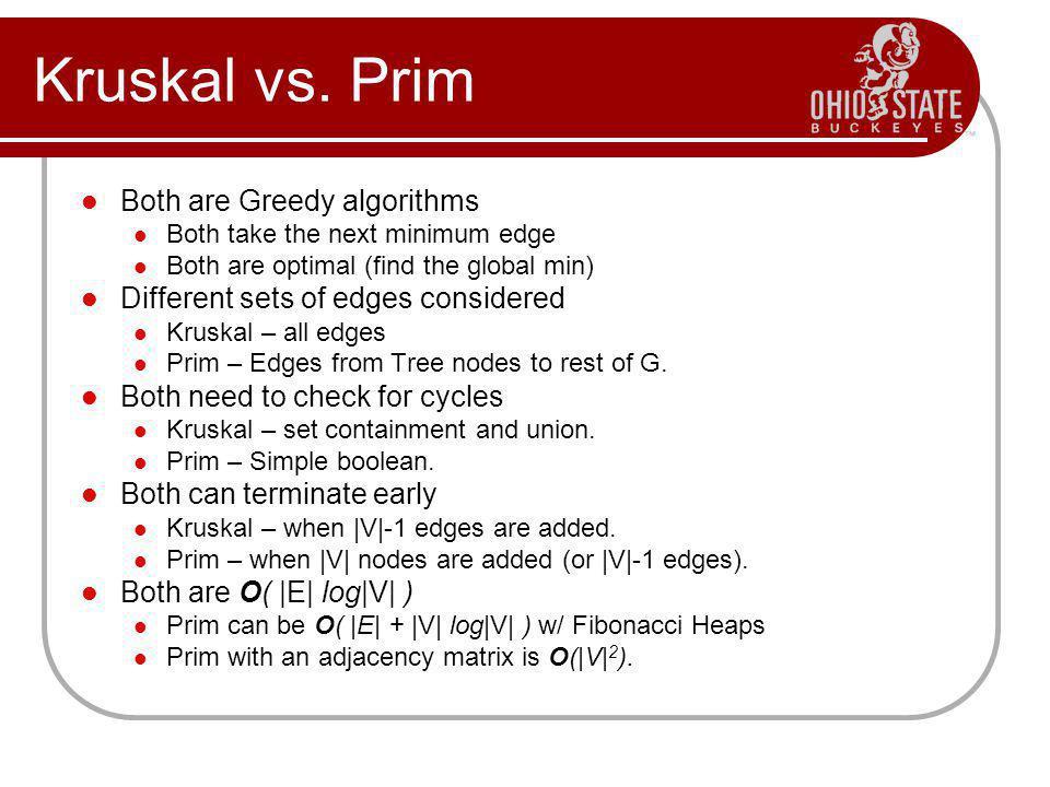 Kruskal vs. Prim Both are Greedy algorithms