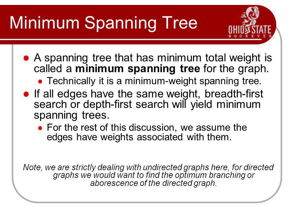 Minimum Spanning Tree A spanning tree that has minimum total weight is called a minimum spanning tree for the graph.
