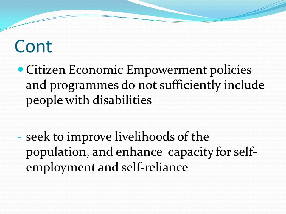 Cont Citizen Economic Empowerment policies and programmes do not sufficiently include people with disabilities.