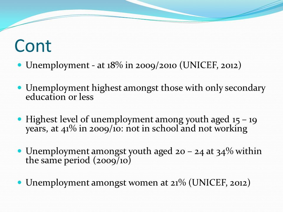 Cont Unemployment - at 18% in 2009/2010 (UNICEF, 2012)