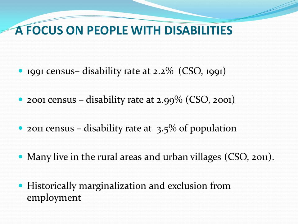 A FOCUS ON PEOPLE WITH DISABILITIES