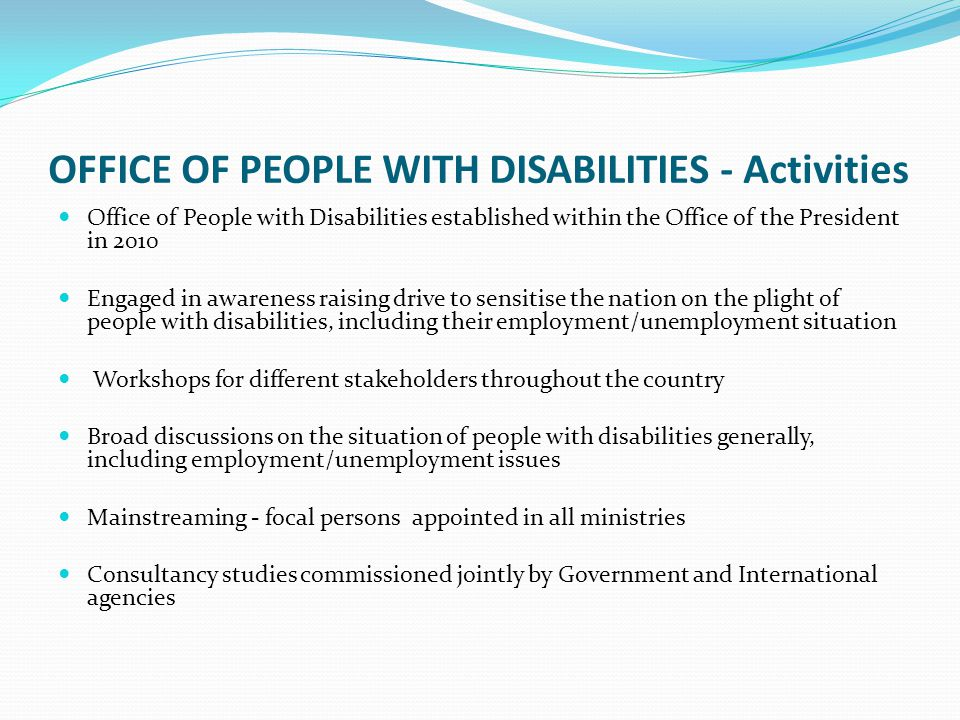 OFFICE OF PEOPLE WITH DISABILITIES - Activities