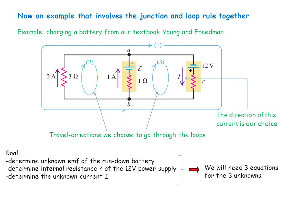 Now an example that involves the junction and loop rule together