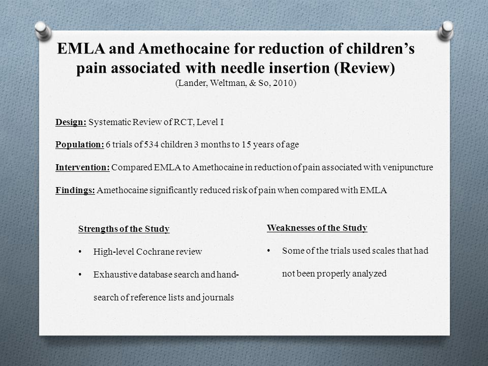 EMLA and Amethocaine for reduction of children's pain associated with needle insertion (Review) (Lander, Weltman, & So, 2010)