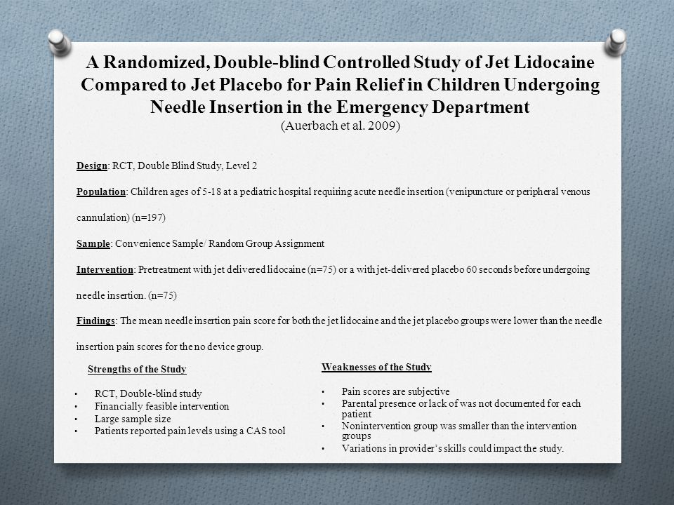 A Randomized, Double-blind Controlled Study of Jet Lidocaine Compared to Jet Placebo for Pain Relief in Children Undergoing Needle Insertion in the Emergency Department (Auerbach et al. 2009)