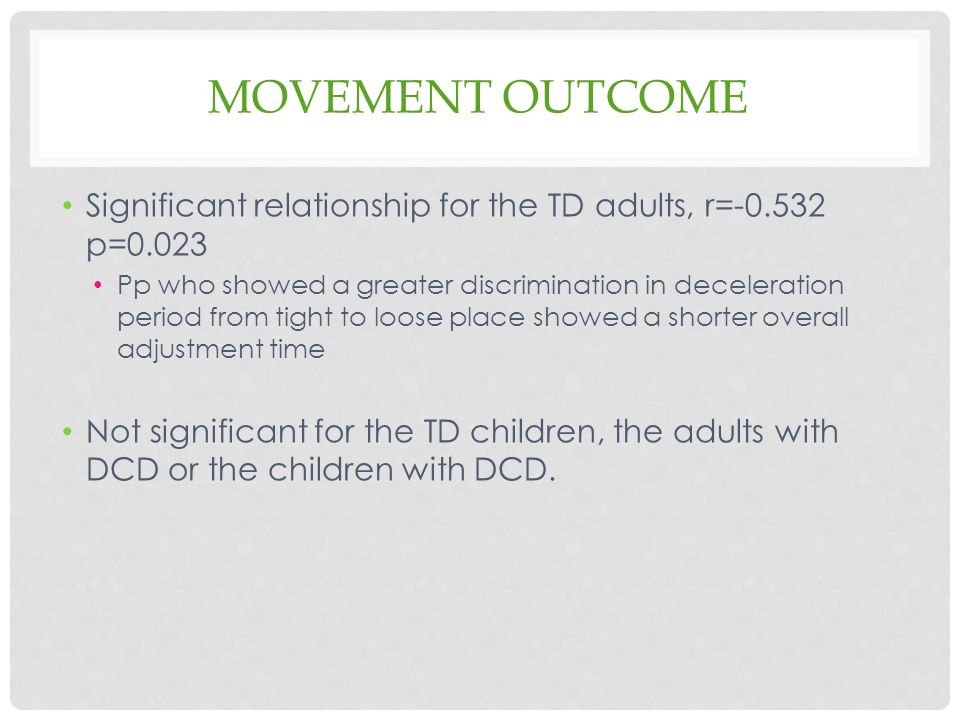 Movement outcome Significant relationship for the TD adults, r=-0.532 p=0.023.