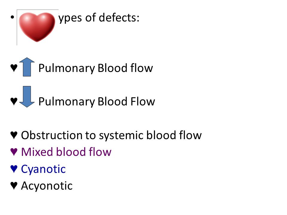 Types of defects: Pulmonary Blood flow. Pulmonary Blood Flow. Obstruction to systemic blood flow.