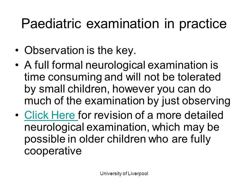 Paediatric examination in practice
