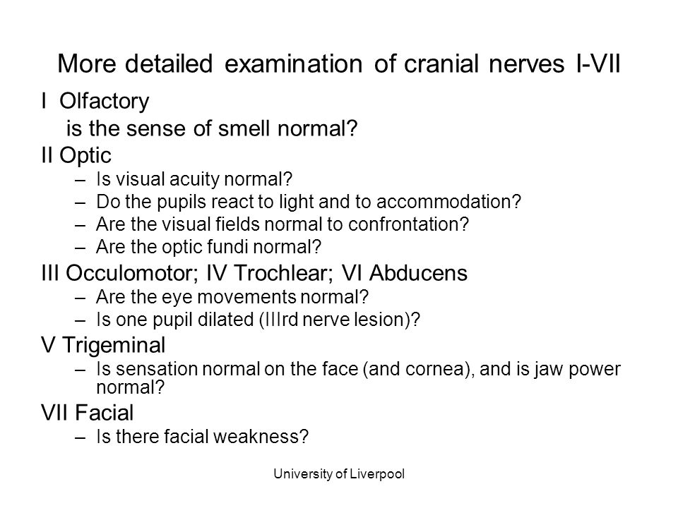 More detailed examination of cranial nerves I-VII