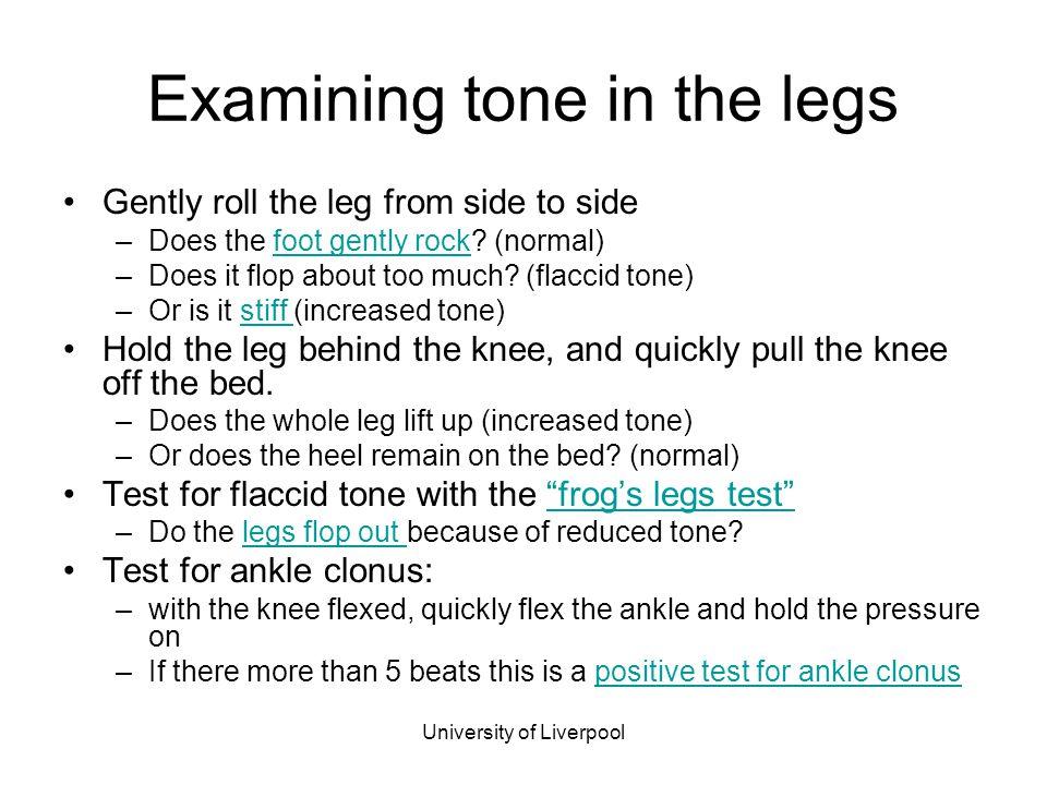 Examining tone in the legs