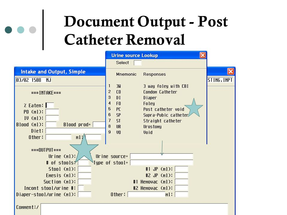 Document Output - Post Catheter Removal