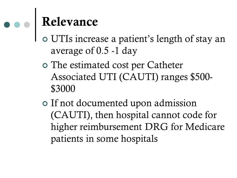 Relevance UTIs increase a patient's length of stay an average of 0.5 -1 day.