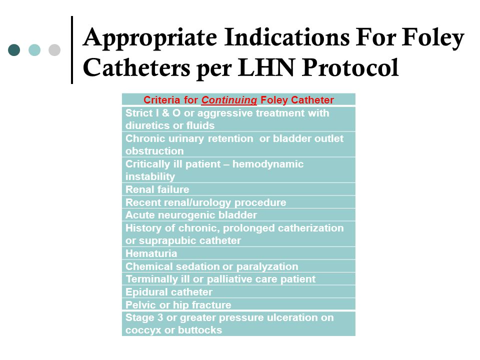 Appropriate Indications For Foley Catheters per LHN Protocol