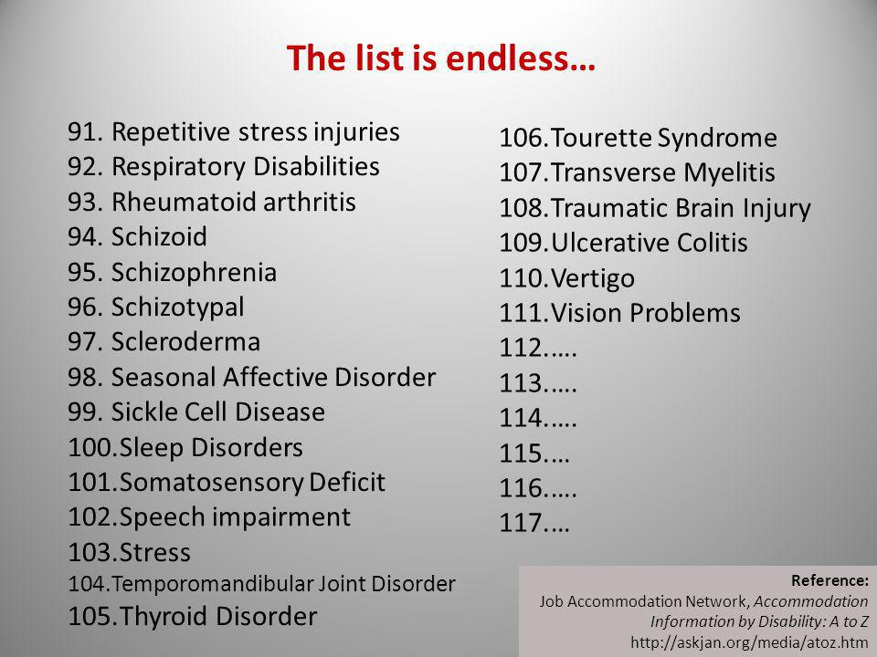 The list is endless… Repetitive stress injuries Tourette Syndrome