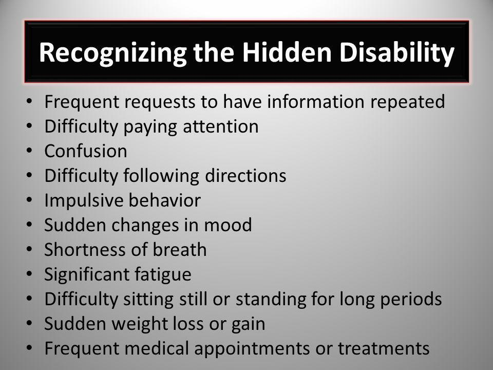 Recognizing the Hidden Disability