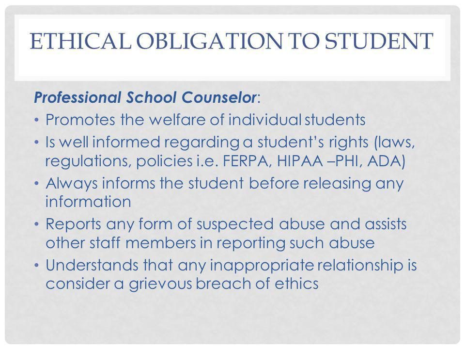 Ethical Obligation to Student