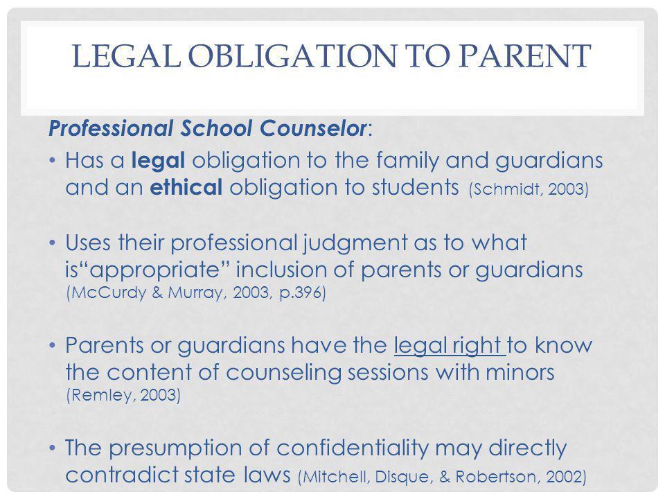 Legal Obligation to Parent