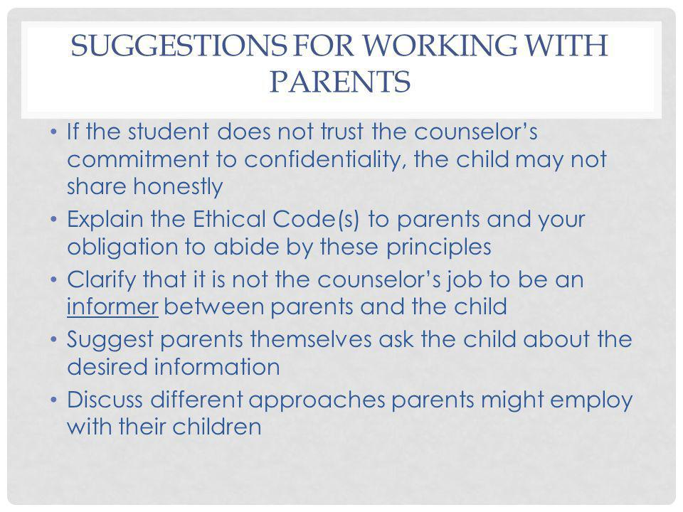 Suggestions for Working with Parents