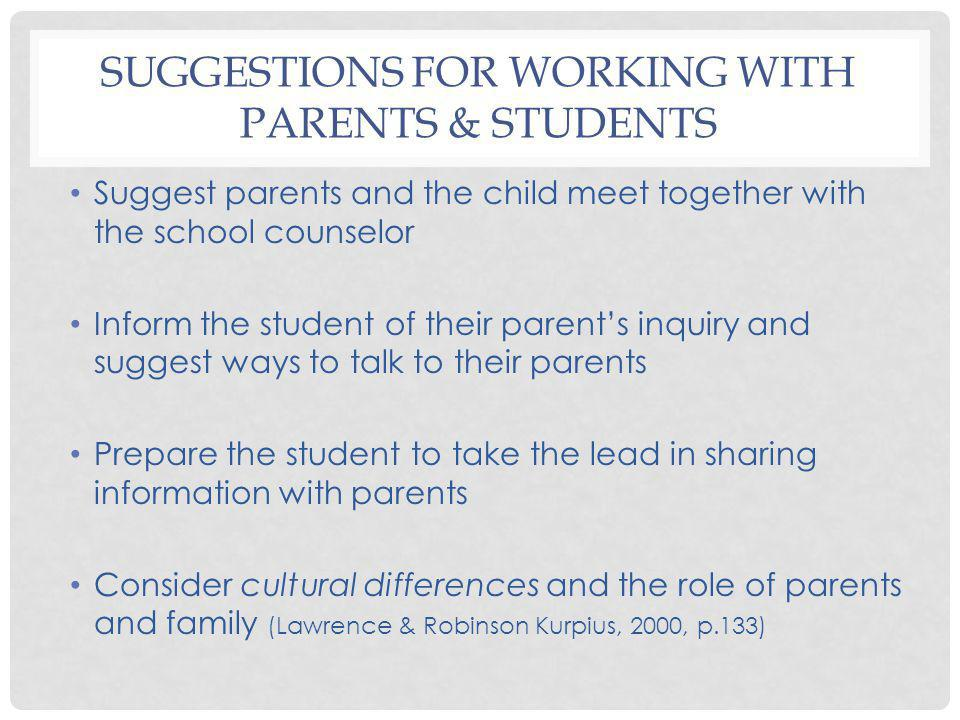 Suggestions for Working with Parents & Students