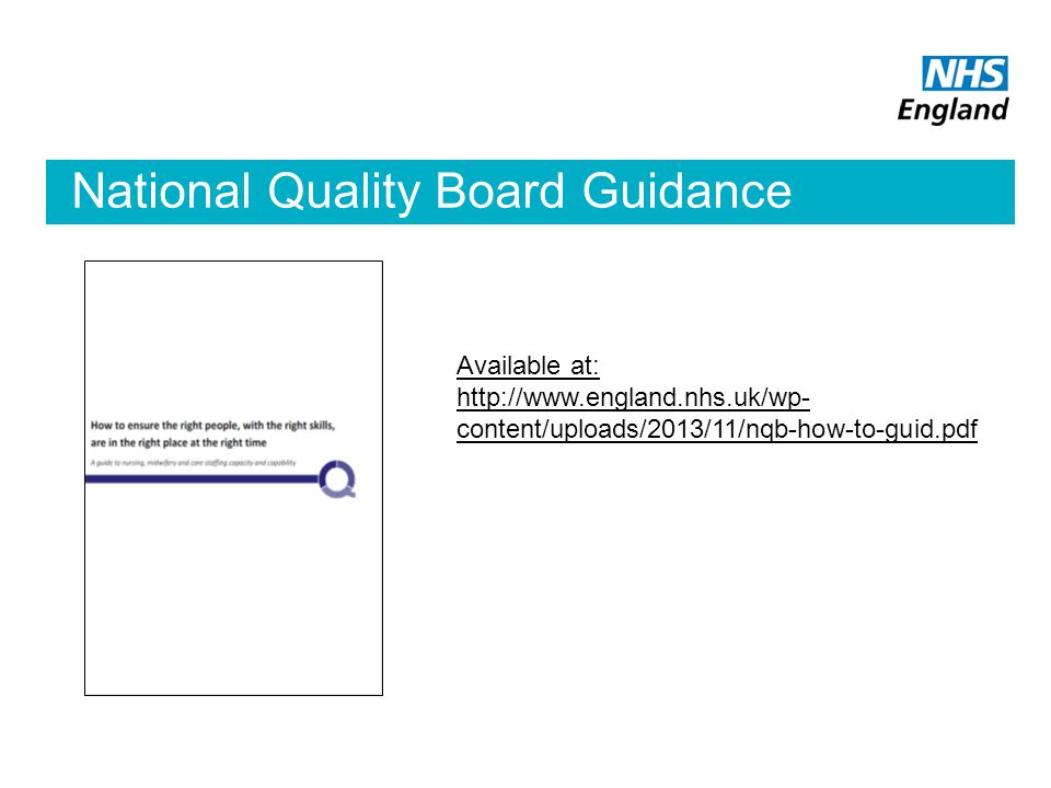 National Quality Board Guidance