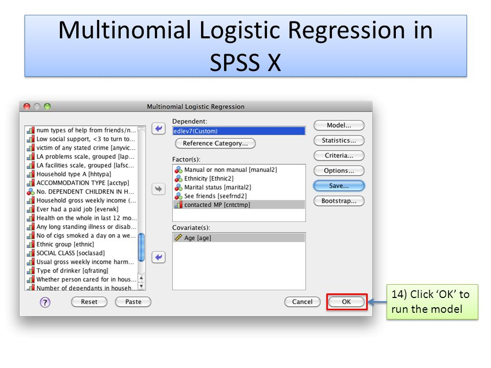 Multinomial Logistic Regression in SPSS X