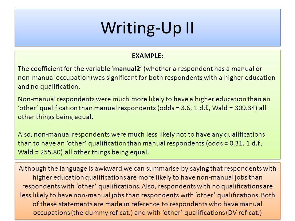 Writing-Up II EXAMPLE: