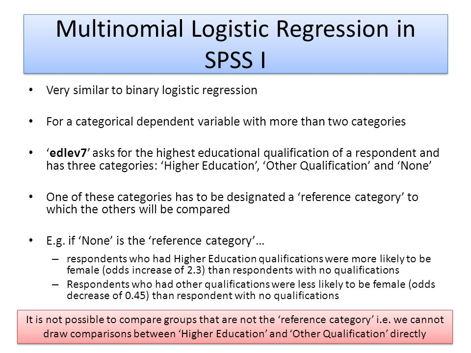 Multinomial Logistic Regression in SPSS I
