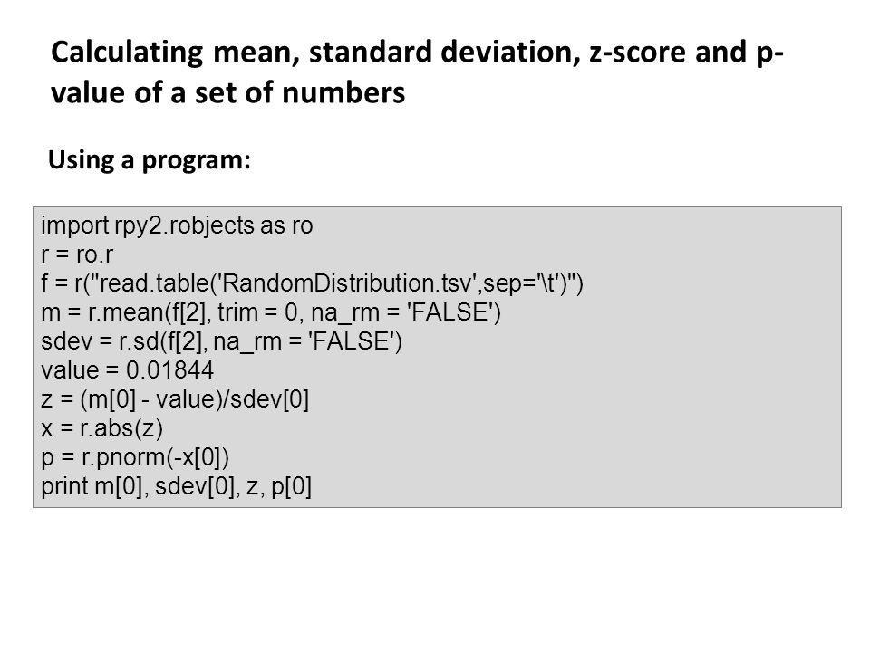 Calculating mean, standard deviation, z-score and p-value of a set of numbers