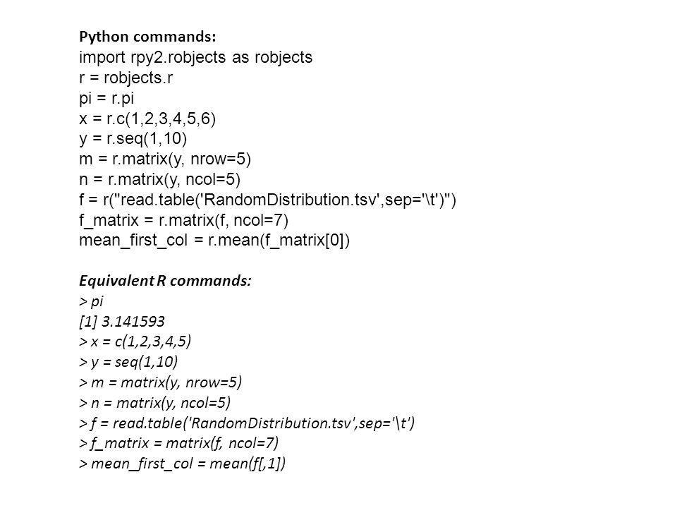 Python commands: import rpy2.robjects as robjects. r = robjects.r. pi = r.pi. x = r.c(1,2,3,4,5,6)