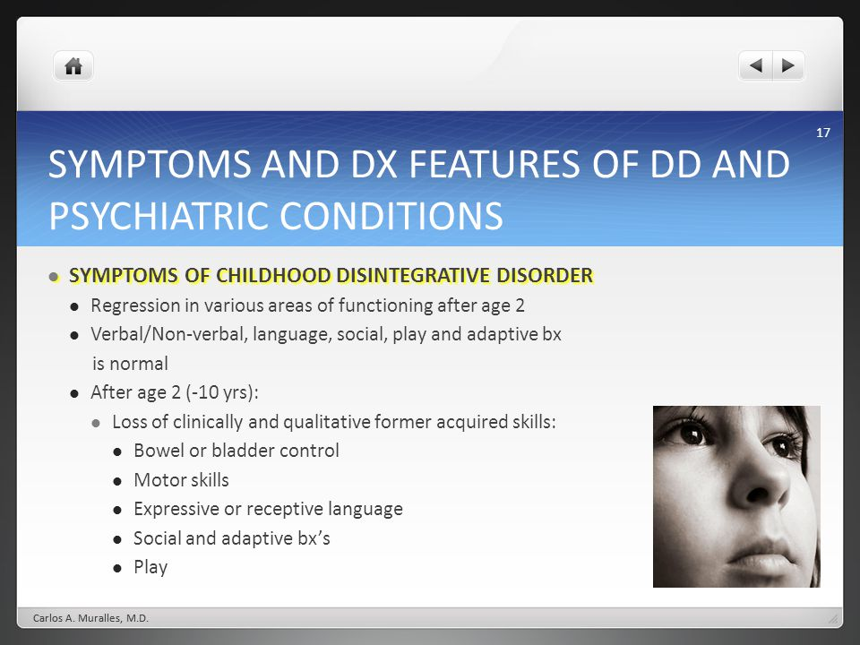 SYMPTOMS AND DX FEATURES OF DD AND PSYCHIATRIC CONDITIONS